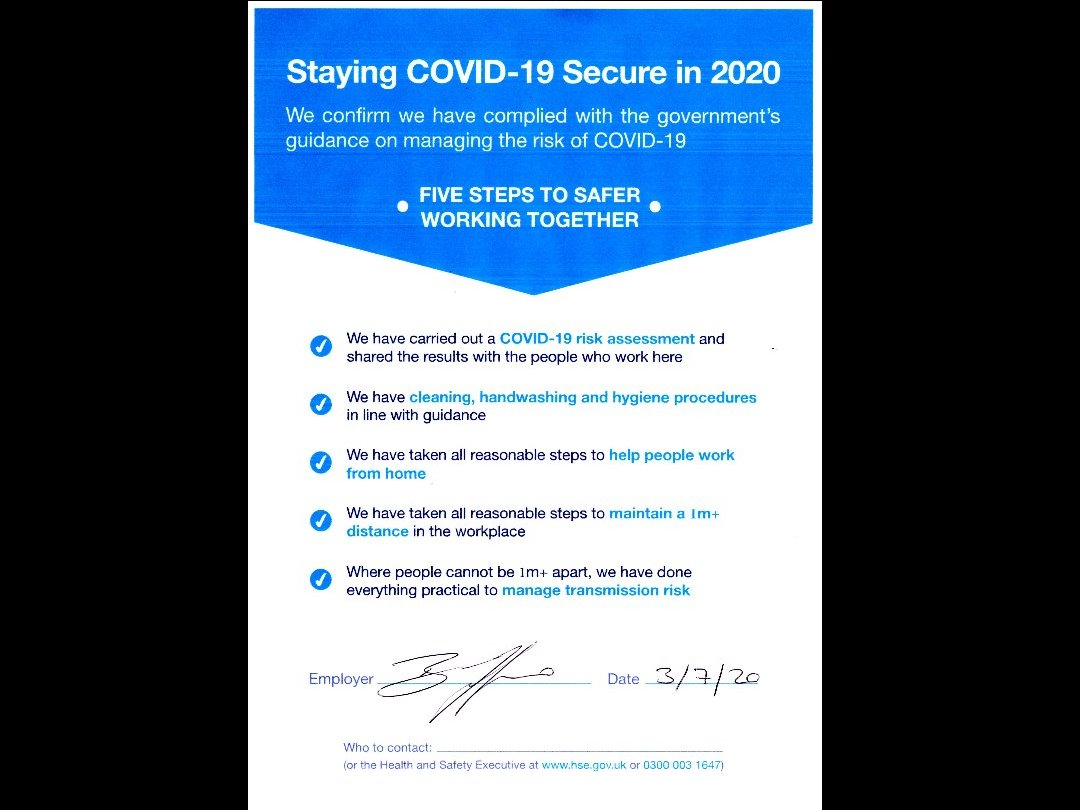 COVID-19 Risk Assessment Complete